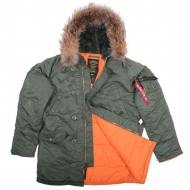 Куртка аляска Alpha Industries N-3B Slim Fit Sage/Orange с натуральным мехом
