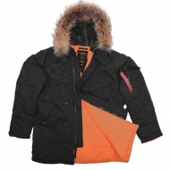Куртка аляска Alpha Industries N-3B Slim Fit Black/Orange с натуральным мехом