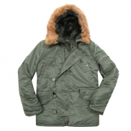 Куртка аляска Alpha Industries N-3B Parka Sage Green с натуральным мехом