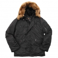 Куртка аляска Alpha Industries N-3B Parka Black с натуральным мехом