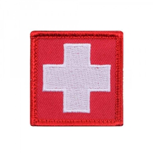 "Нашивка Rothco ""White Cross"" Red Morale Patch"