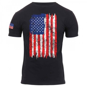 Футболка Rothco Distressed US Flag Athletic Fit T-Shirt Black